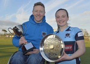 Proud Armagh Coach, Niall McCool with captain Julie Frazer and the Senior 1 League and Cup